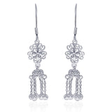 Taraash Sterling Silver Floral Style French Hook Jhumki For Women CBER320I-04