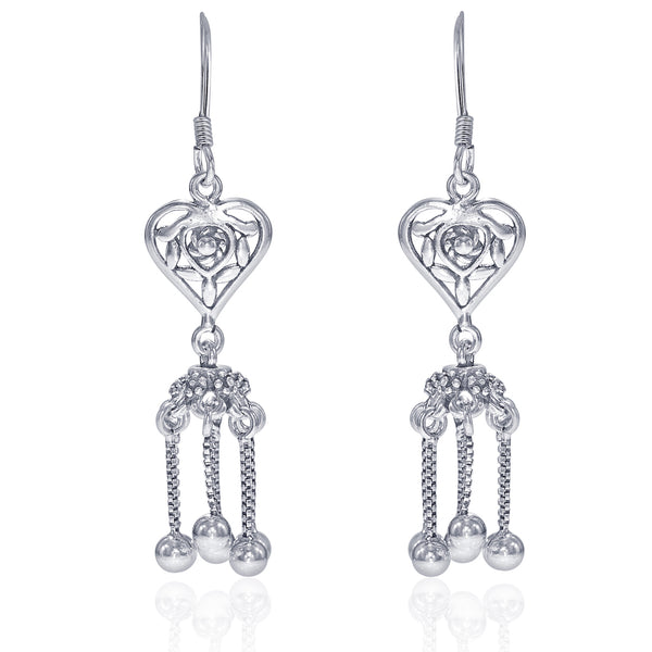 Taraash Sterling Silver Heart Shape French Hook Jhumki For Women CBER320I-05