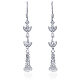 Taraash Sterling Silver Floral Style French Hook Jhumki For Women CBER320I-09