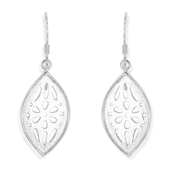 Taraash 925 Sterling Silver Cutwork Marquise Shape Earrings For Women CBER330I-02