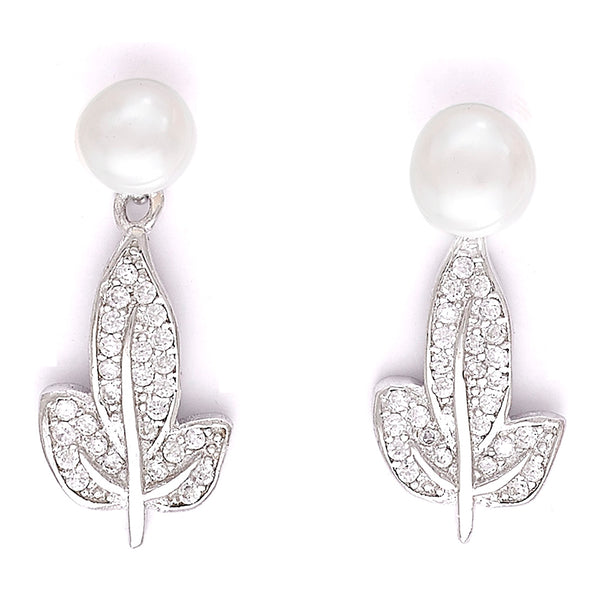 Taraash 925 Sterling Silver Leaf Style Drop Earrings For The Festive and Office Wear For Women CBER336I-08