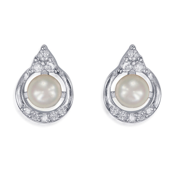 Taraash Sterling Silver Pretty Circle With Pearl Stud Earrings For Women / Girls CBER338I-02