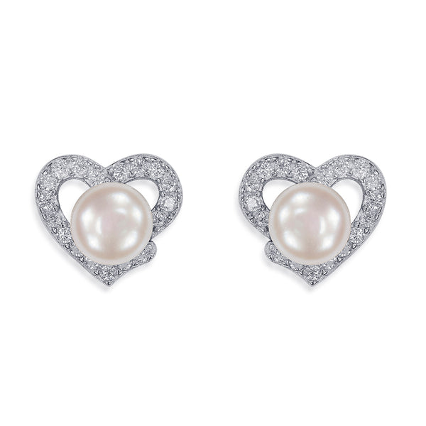 Taraash Sterling Silver CZ Adorn Heart With Pearl Stud Earring For Women / Girls CBER338I-06