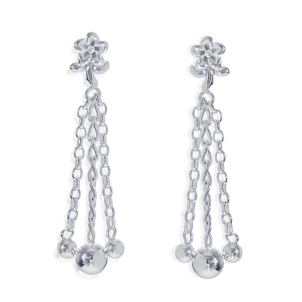 Taraash 925 Sterling Silver Floral Design Drop Earrings For Women CBER374I-01