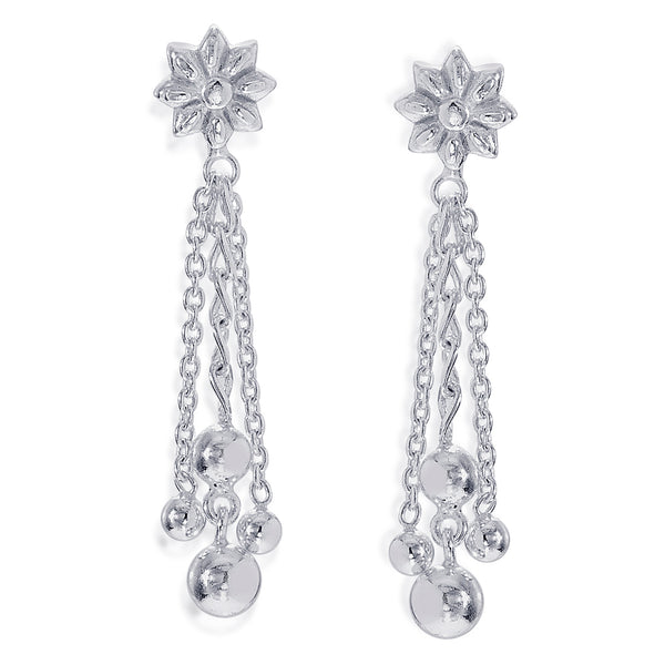 Taraash 925 Sterling Silver Floral Shape Drop Earrings For Women CBER374I-09