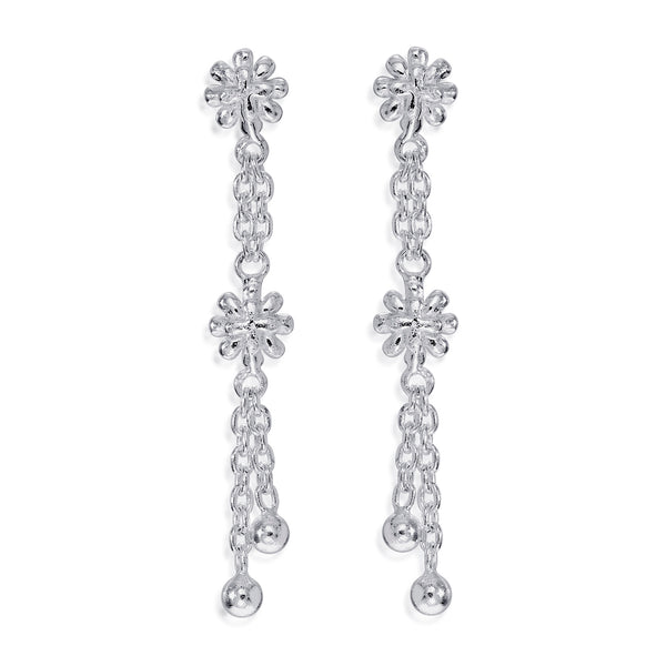 Taraash 925 Sterling Silver Floral DesignDrop Earrings For Women CBER375I-02