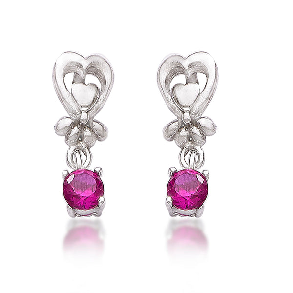 Taraash 925 Sterling Cz Heart Drop Silver Earrings For Girls CBER378I-02