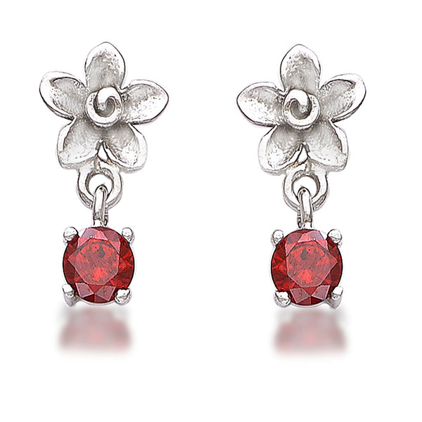 Taraash 925 Sterling Cz Floral Drop Silver Earrings For Girls CBER378I-04