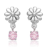 Taraash 925 Sterling Cz Floral Drop Silver Earrings For Girls CBER378I-06