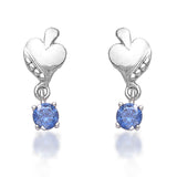 Taraash 925 Sterling Cz Heart Drop Silver Earrings For Girls CBER378I-07
