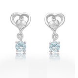 Taraash 925 Sterling Cz Heart Drop Silver Earrings For Girls CBER378I-09