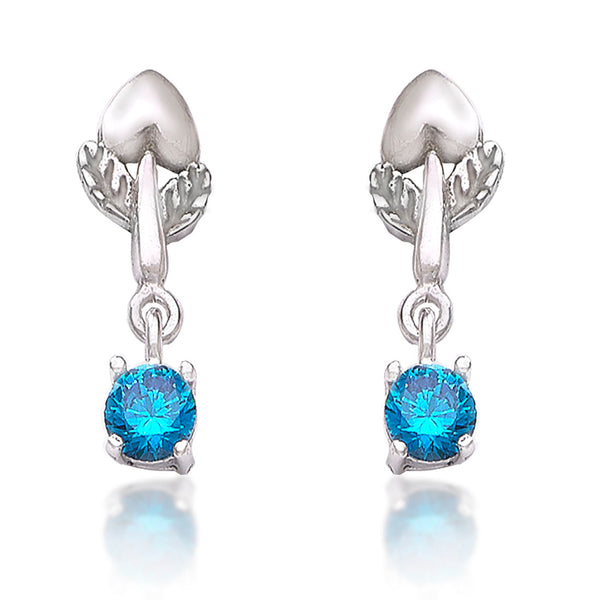 Taraash 925 Sterling Cz Floral Drop Silver Earrings For Girls CBER378I-01