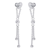 Taraash 925 sterling silver Double heart Drop Earrings for women CBER381I-02