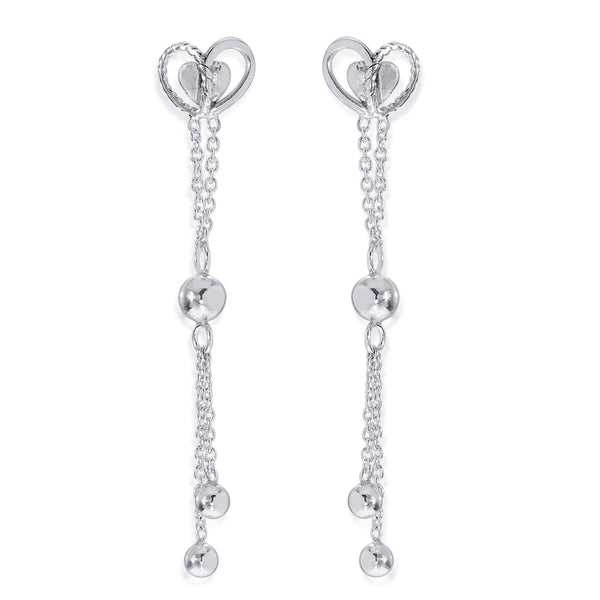 Taraash 925 Sterling Silver Heart Shape Drop Earrings For Women CBER381I-08