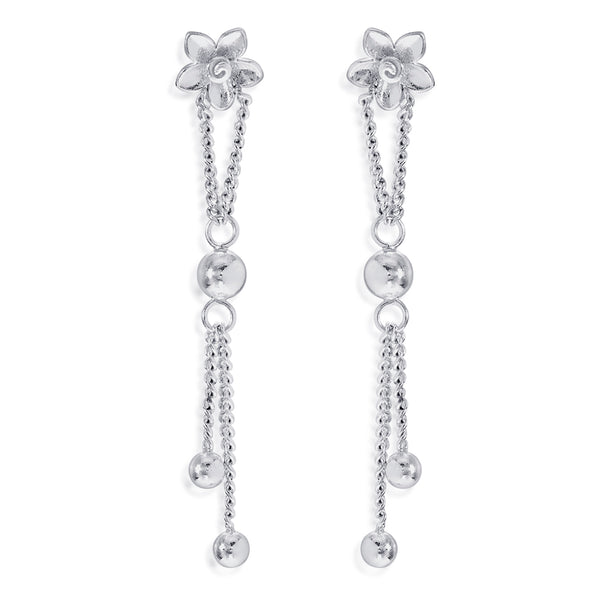 Taraash 925 Sterling Silver Floral Design Drop Earrings For Women CBER381I-09