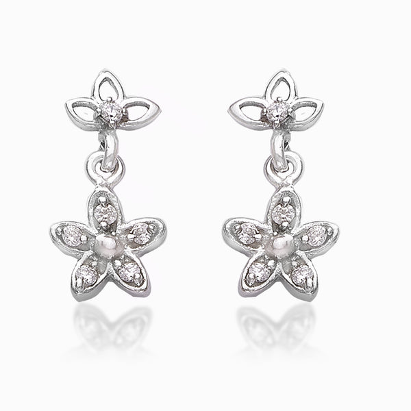 Taraash 925 Sterling Cz Floral Silver Drop Earrings For Girls CBER383I-04
