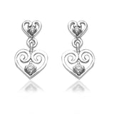 Taraash 925 Sterling Cz Heart Silver Drop Earrings For Girls CBER383I-01