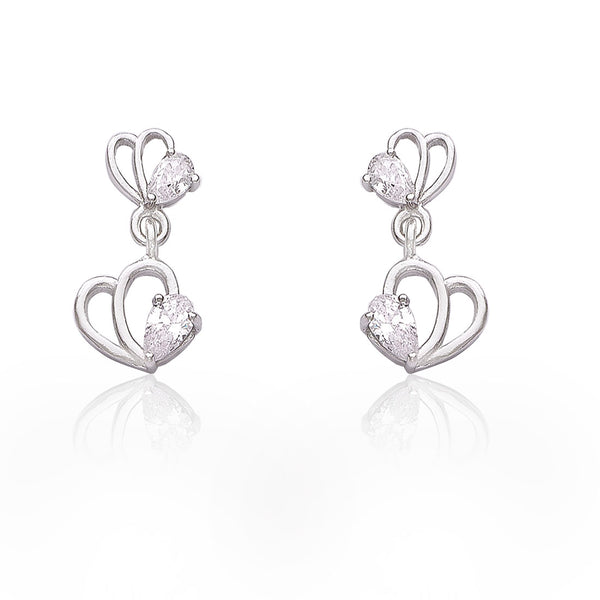Taraash 925 Sterling Cz Silver Drop Earrings For Girls CBER383I-02