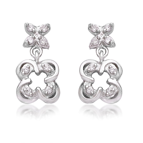 Taraash 925 Sterling Cz Floral Silver Drop Earrings For Girls CBER383I-07