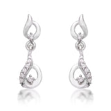Taraash 925 Sterling Cz Abstruct Silver Drop Earrings For Girls CBER383I-08