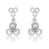 Taraash 925 Sterling Cz Floral Silver Drop Earrings For Girls CBER383I-09