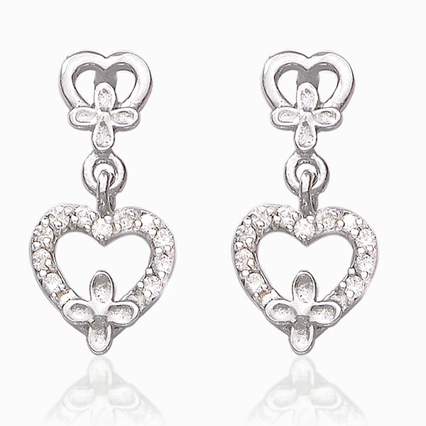 Taraash 925 Sterling Silver Stylish cz Daily Wear Earrings For Girls and Women CBER384I-01