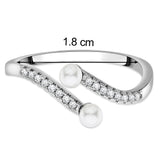 Taraash Sterling Silver CZ & Pearls Bypass Promise Ring For Women CBFRBX61I-06