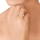 Taraash Sterling Silver Classy CZ & Pearls Finger Ring For Women CBFRBX61I-08