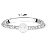 Taraash Sterling Silver Elegant CZ & Pearl Finger Ring For Women CBFRBX61I-09