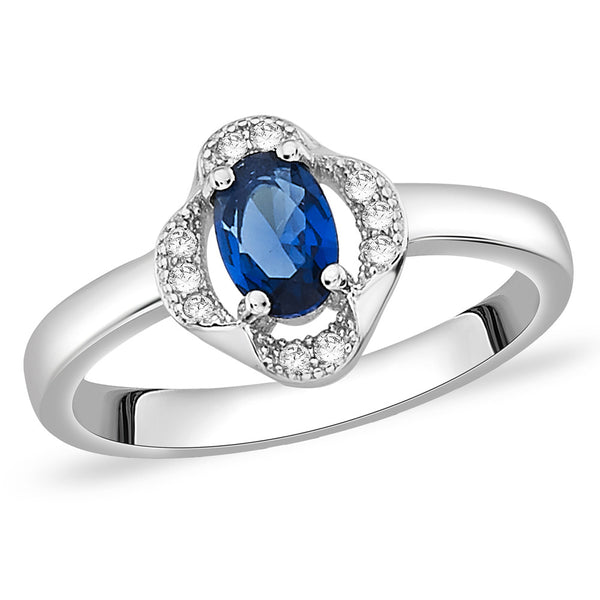 Taraash Sterling Silver Blue Oval CZ Adorn Floral Finger Ring For Women CBFRBX68I-02