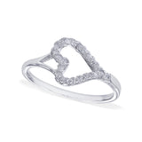 Taraash Sterling Silver Elegant Open Heart CZ Finger Ring For Women / Girls CBFRBX85I-10