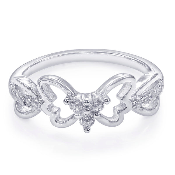 Taraash 925 Sterling Silver Butterfly Shape Finger Ring For Women CBFRBX86I-01