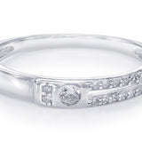 Taraash 925 Sterling Silver Center White Cz Couple Ring For Couples CBFRBX88I-04
