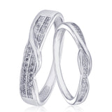 Taraash 925 Sterling Silver Dazzling White Cz Couple Ring For Couples CBFRBX88I-08