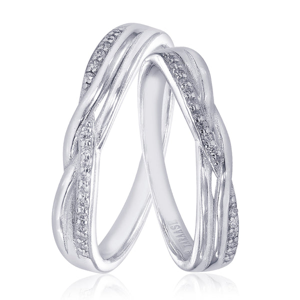 Taraash 925 Sterling Silver Dazzling White Cz Couple Ring For Couples CBFRBX88I-10