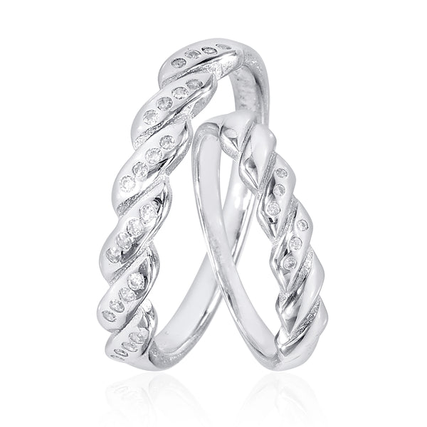 Taraash Sterling Silver Twisted CZ Couple Ring For Couples CBFRBX_90I-10