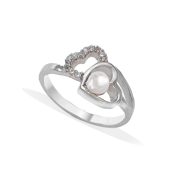 Taraash 925 Silver Heart Pearl Stylish Rings For Women