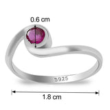 Taraash 925 Sterling Silver round cz finger ring for girls CBFRBX_02LI-11
