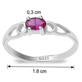 Taraash 925 Sterling Silver Oval Shape cz finger ring for girls CBFRBX_02LI-14