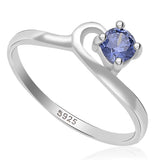 Taraash 925 Sterling Silver studded with blue cz finger ring for women,girls  CBFRBX_02LI-29