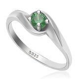 Taraash 925 sterling silver round shape design green cz finger ring for women CBFRBX_02LI-41
