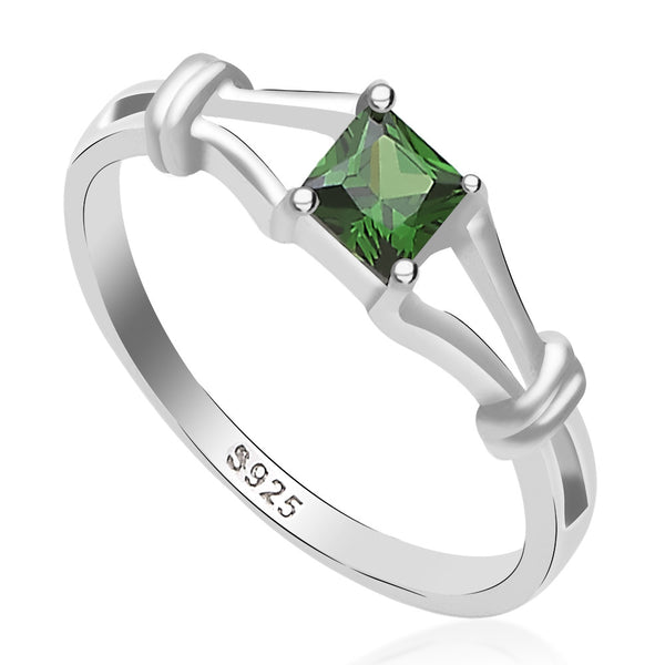 Taraash 925 Sterling Silver square cut cz finger ring for girls CBFRBX_02LI-44