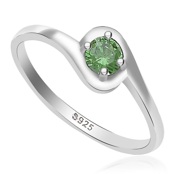 Taraash 925 Sterling Silver round green cz finger ring for girls CBFRBX_02LI-49