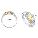 Taraash 925 Sterling Silver CZ With Gold Plated OM Finger Ring CBFRBX_19I-05