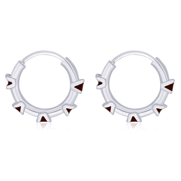 Taraash diamond shape brown enamel hoop earring 925 Silver For Women CBHP027I-07