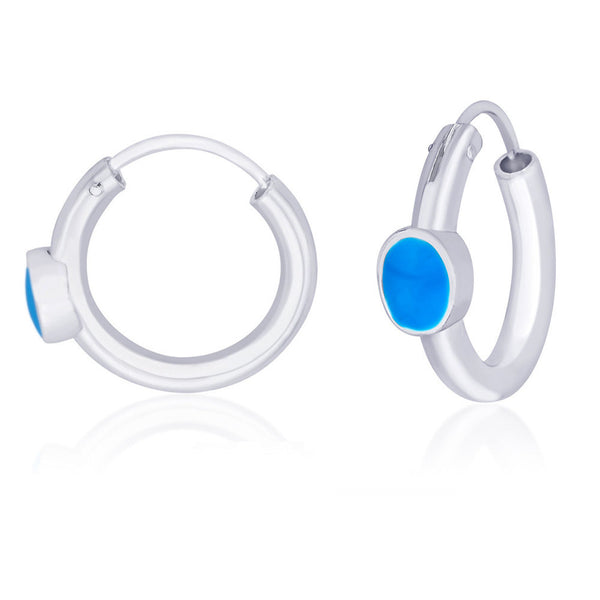 Taraash Drop Shape turquoise blue enamel hoop earring 925 Silver For Women CBHP027I-10