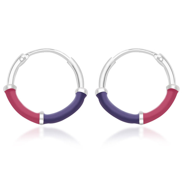 Taraash 925 Sterling Silver Lavender & Pink Enamel Hoop Earrings For Women CBHP035I-12