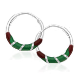 Taraash 925 Sterling Silver Red & Green Enamel Hoop Earrings For Women CBHP035I-03