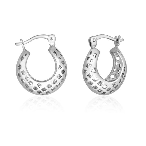 Taraash Sterling Silver Plain Cutwork Hoop Earrings For Women CBHP038I-04