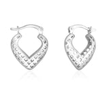 Taraash Sterling Silver Plain Heart Shpae Hoop Earrings For Women CBHP038I-05